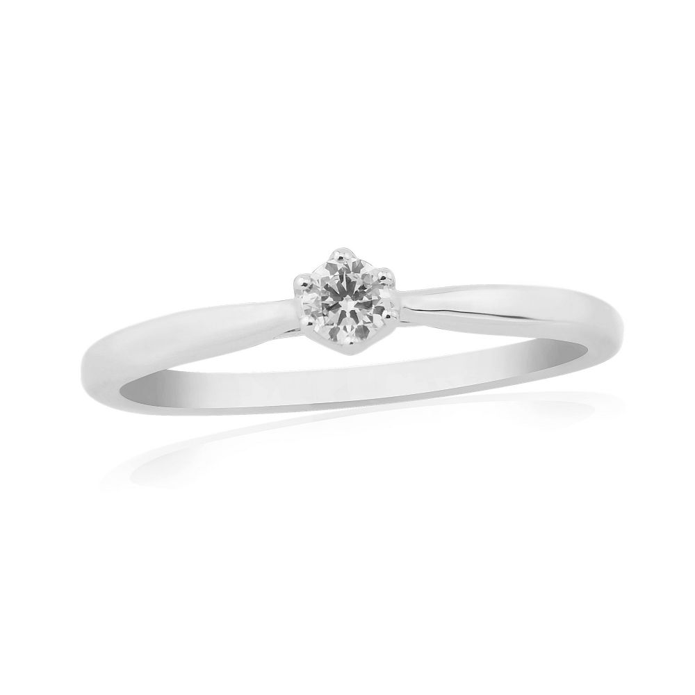 Solitaire Six Claw Engagement Ring White Gold 10 Points
